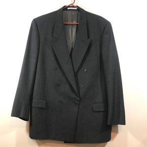 YSL Striped Double Breasted Stripe Charcoal Blazer